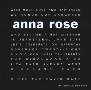 Anna Rose Bat Mitzvah