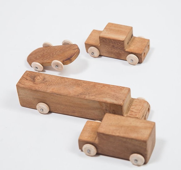 Drevené mini autíčka - set 4 ks