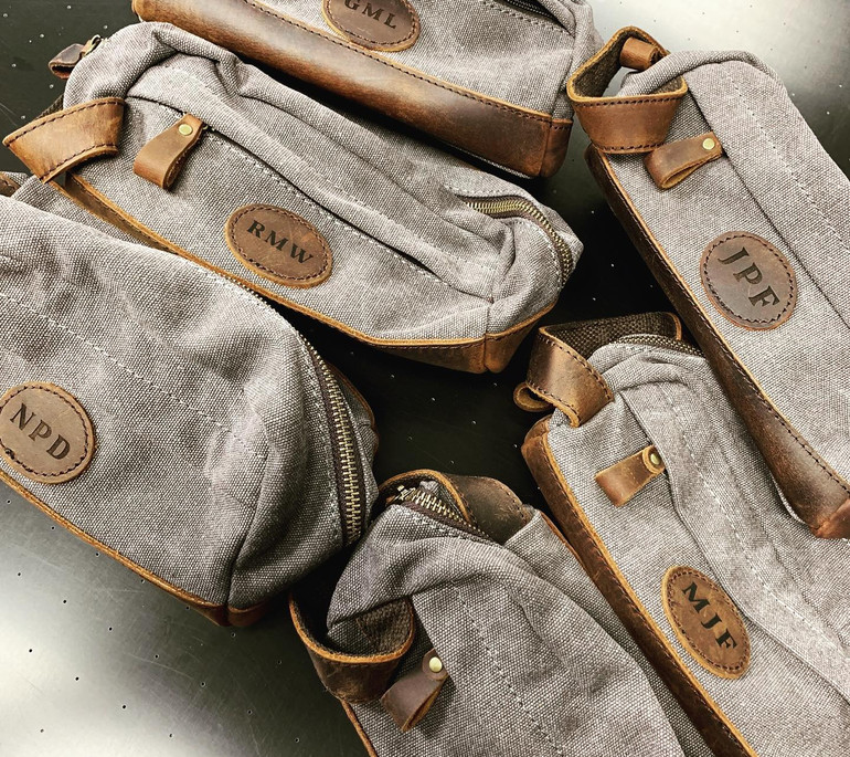 Groomsman Etched Leather Bags