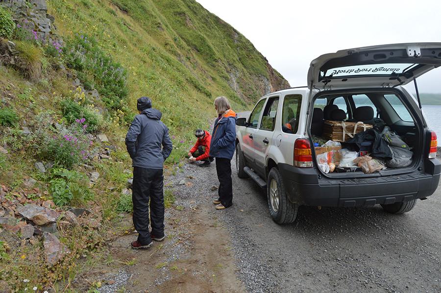 Field work in the Aleutians (photo Steffi Ickert-Bond)
