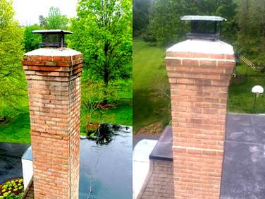 Before/After repointed chimney.