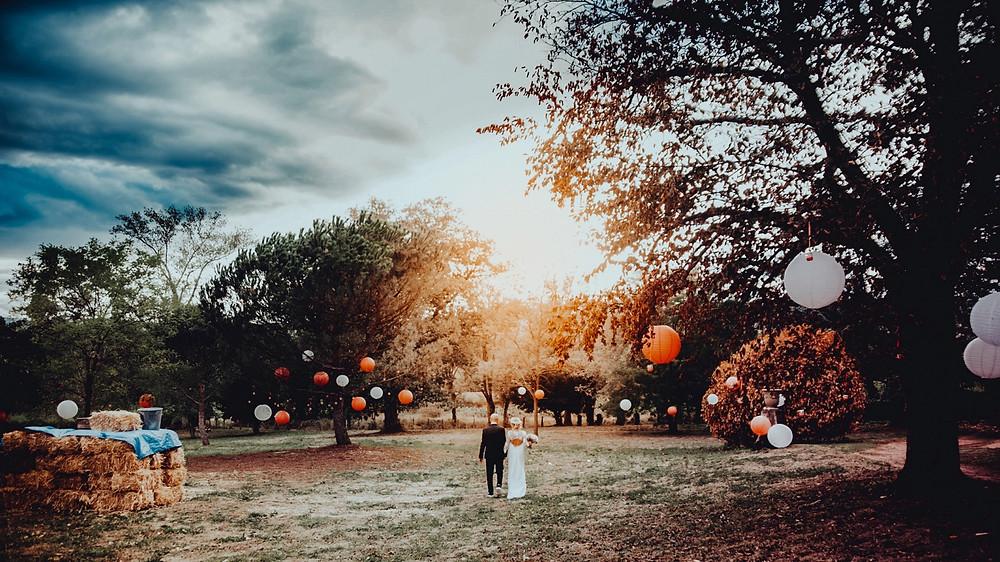 Photographe mariage Lyon Roanne Les Maisons du Bonheur Fleurie golden hour Fuji X-PRO2