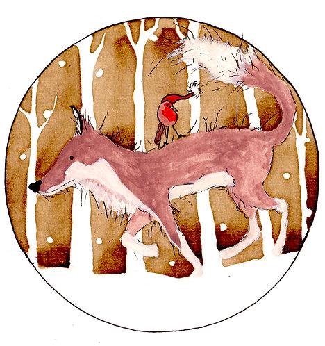 Fox and Robin Christmas Card