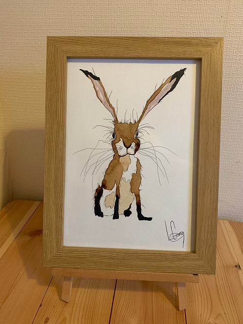 Hare with black socks Original painting