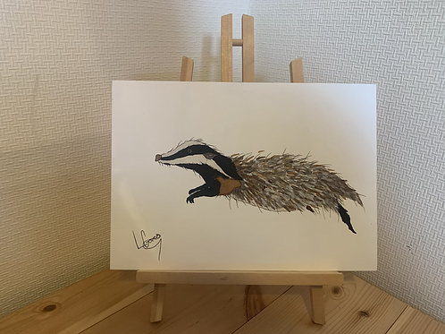 Leaping Badger Painting