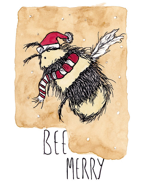 Bee Merry Christmas Card