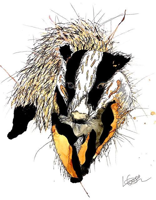 Walking Badger Greetings Card
