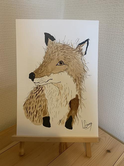 Coffee Stain Fox Original Painting