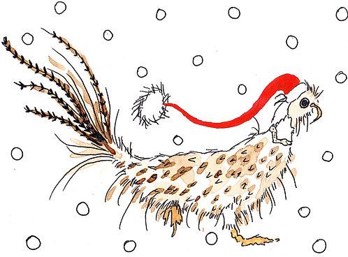 Santa Pheasant Greetings Card