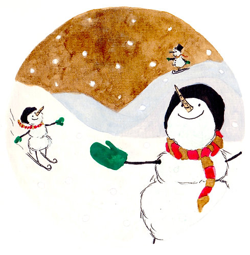 The Snowman Slope Christmas Card