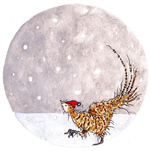 Santa Pheasant Christmas Card