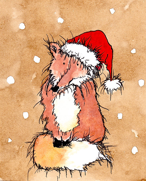 Santa Fox Greetings Card