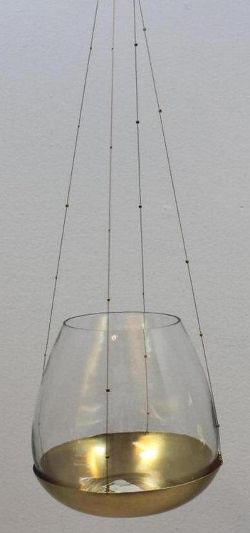 Windlicht Goldteller mit Hänger Klein