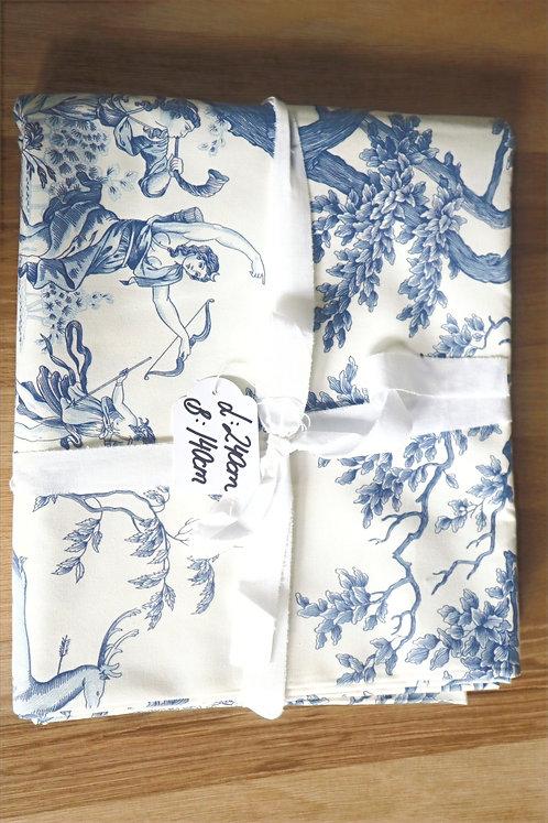Stoff Baumwolle Blau gemustert