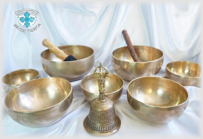 Комплект тибетских поющих чаш №7 для медитативных практик.