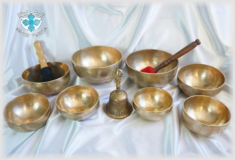 Комплект тибетских поющих чаш №8 для медитативных практик.