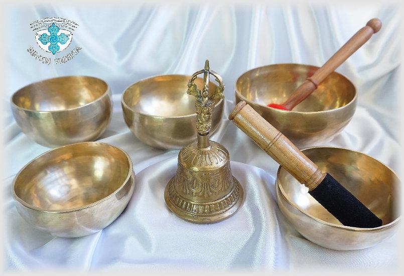 Комплект тибетских поющих чаш №5 для медитативных практик.