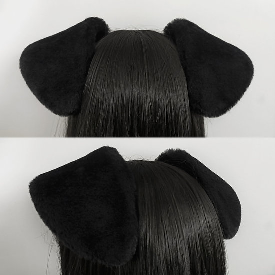 Short Black Puppy Ears (wired)