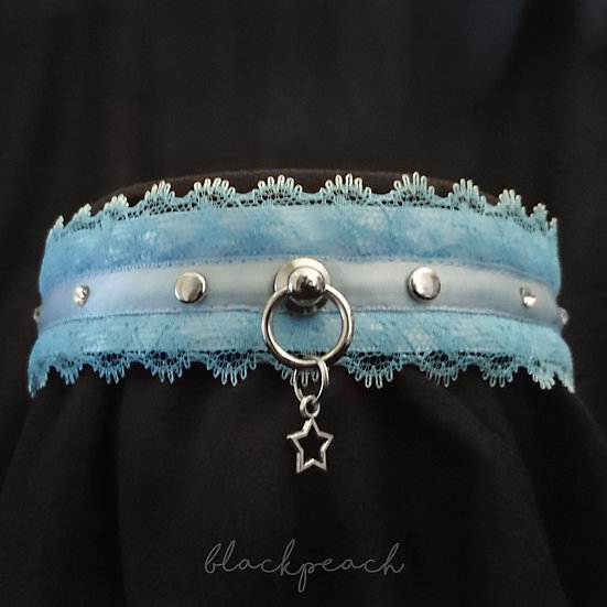 Classic Lace & Crystal Collar - Light Blue