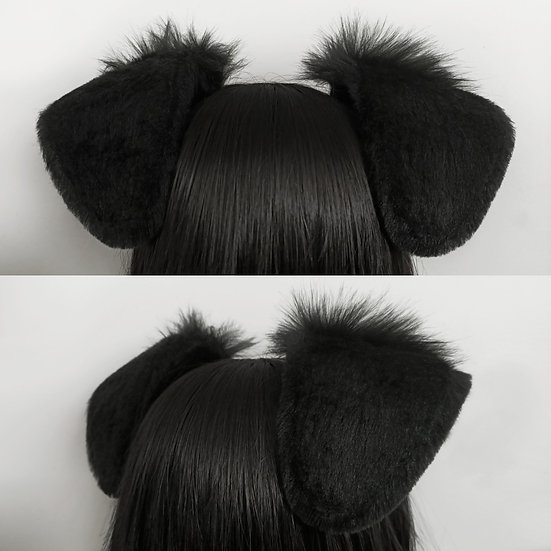 Fluffy Black Puppy Ears (wired)