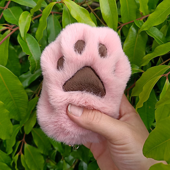 Dusty Pink & Brown Cat Paw - Large
