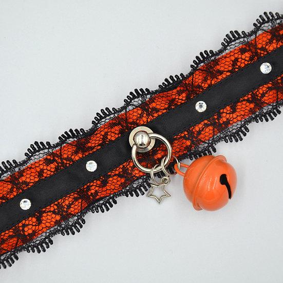 Classic Lace & Crystal Collar - Black & Orange
