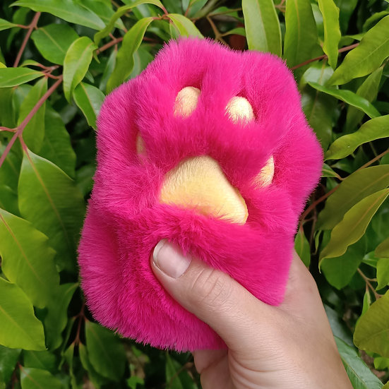 Hot Pink & Yellow Cat Paw - Large