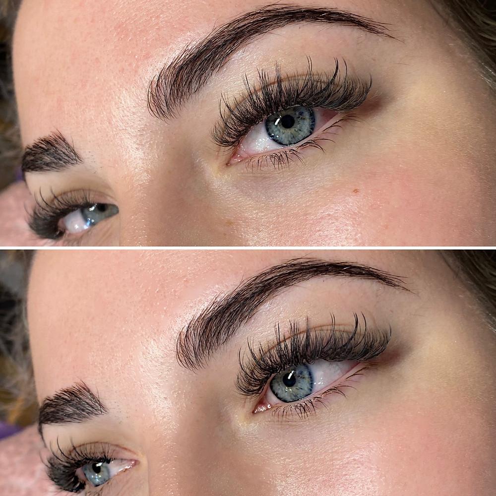 Lash artist applying eyelash extensions to girl