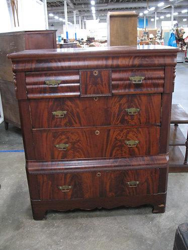 Antique Empire Flame Mahogany Wood Veneer Highboy Dresser
