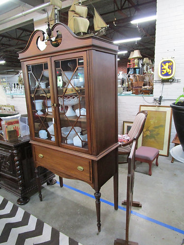 Vintage Mahogany Two Glass Door Bonnet Top China Display Cabinet