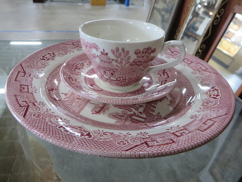 Vintage Churchill Classic Pink Willow China 3 Piece Service for 1