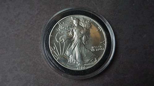 1986 Walking Liberty Dollar, 1 troy ounce of Silver, Brilliant Uncirculated: sil