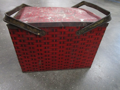 Vintage Tiger Chewing Tobacco Red Metal Lunch Pail Tin