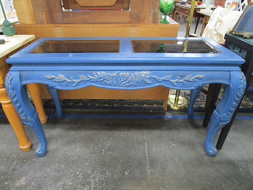 Table, Console, DIY painted blue with Gold gilding and amber glass, Wax Seal