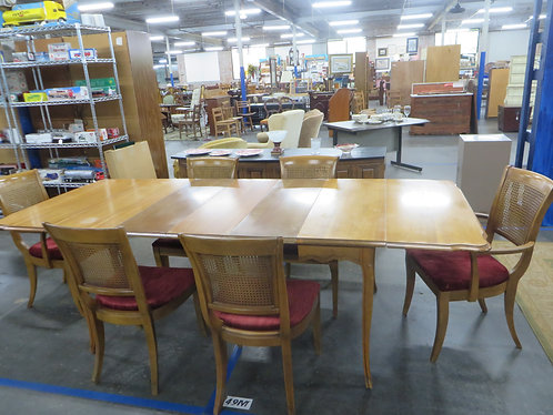 Vintage Thomasville Dining Table and 6 Cane Back Chairs