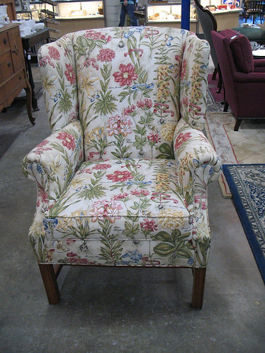 Wesley Hall Floral Upholstered Wingback Chair