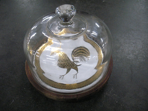 Vintage Wood Chicken Cheese Board with Glass Dome