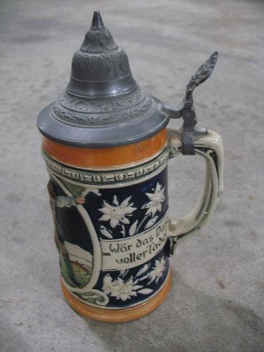 Vintage Made in Germany Beer Stein with Pewter Lid