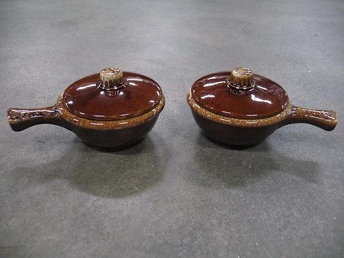 Vintage Hull Crooksville USA Brown Drip Glaze Covered Soup Bowls Set of 2
