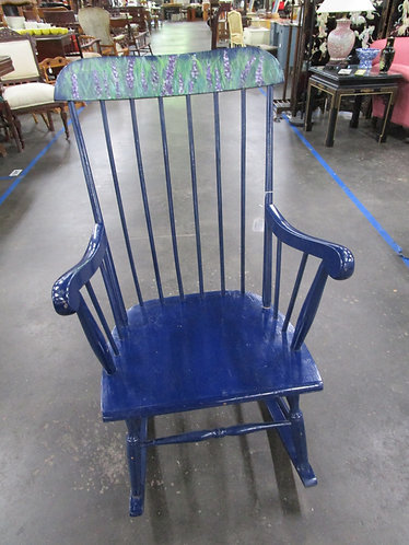 Vintage Blue Rocking Chair with Handpainted Floral Back