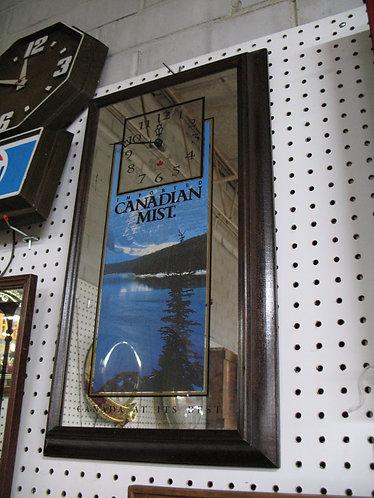 Vintage Canadian Mist Battery Clock Mirror