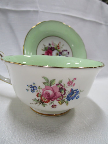 Hammersley and Co. Green with Floral Transfer Teacup and Saucer