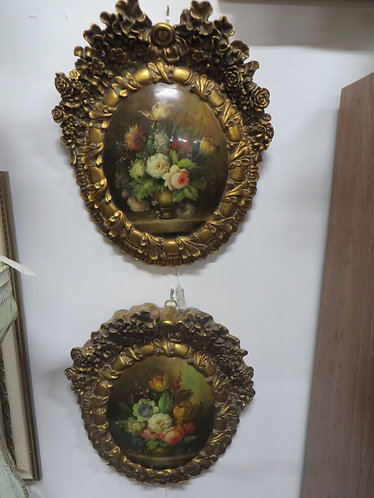 Vintage Handpainted High Victorian Wall Plaques Set of 2