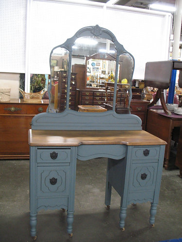 Vintage Walnut Chalk Painted & Stained Four Drawer Desk Vanity with Mirror