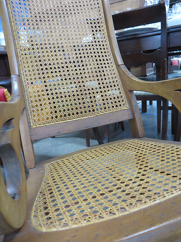 Antique Cane Seat and Back Rocking Chair