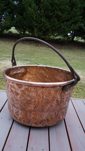 Pot, Copper Candy pot with Cast Iron Handle, 1800s