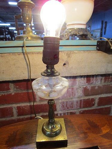 Vintage Fenton Coin Dot Boudoir Accent Small Lamp No Shade