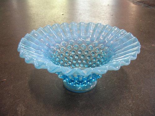 Vintage Fenton Blue Hobnail Pedestal Bowl Vase