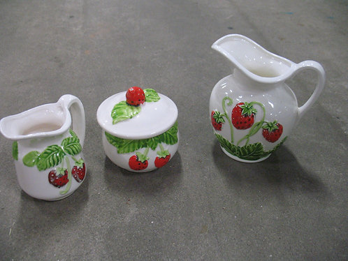 Vintage Ardco Japan Strawberry Creamer/Sugar and Small Pitcher