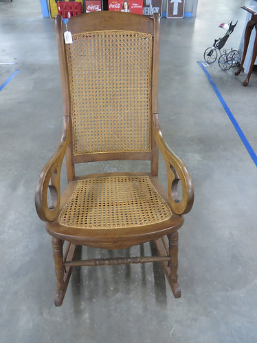Vintage Cane Seat and Back Wood Rocking Chair